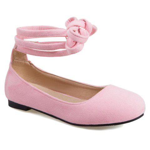 Discount Lace Up Round Toe Flat Shoes - 39 PINK Mobile