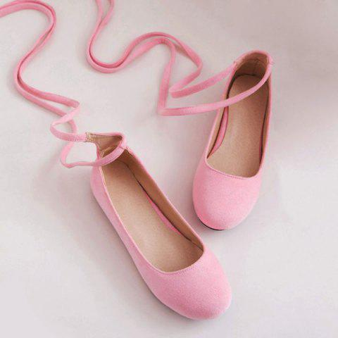 Hot Lace Up Round Toe Flat Shoes - 39 PINK Mobile