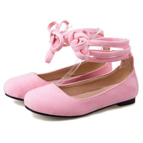 Online Lace Up Round Toe Flat Shoes - 39 PINK Mobile