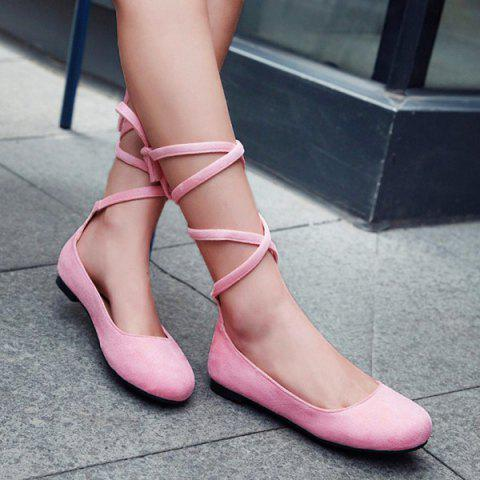 Affordable Lace Up Round Toe Flat Shoes - 39 PINK Mobile