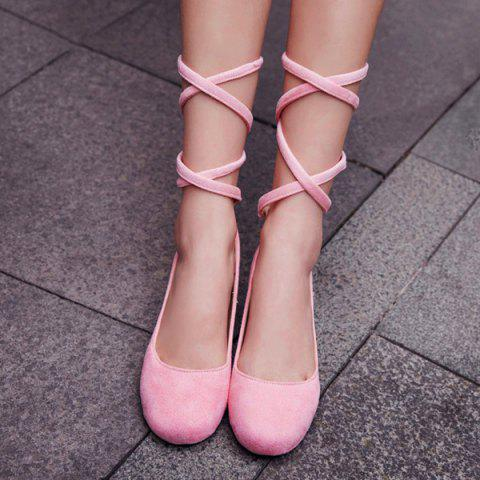 New Lace Up Round Toe Flat Shoes - 39 PINK Mobile