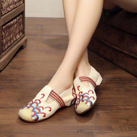 Shop Striped Pattern Embroidery Flat Shoes - 37 BEIGE Mobile