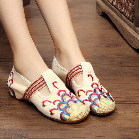 Trendy Striped Pattern Embroidery Flat Shoes - 37 BEIGE Mobile