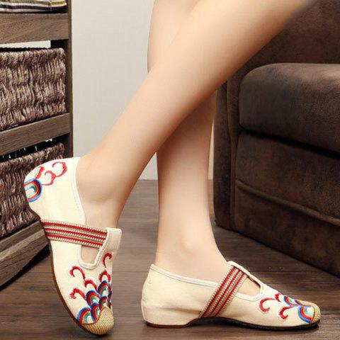 Hot Striped Pattern Embroidery Flat Shoes - 37 BEIGE Mobile