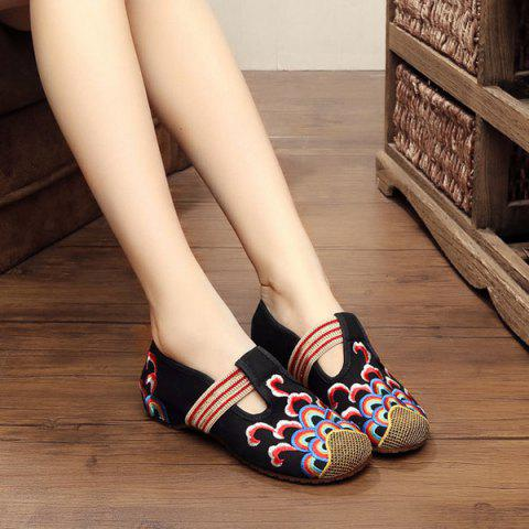 Online Striped Pattern Embroidery Flat Shoes - 39 BLACK Mobile