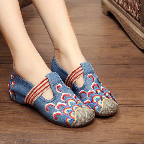 New Striped Pattern Embroidery Flat Shoes - 39 DENIM BLUE Mobile