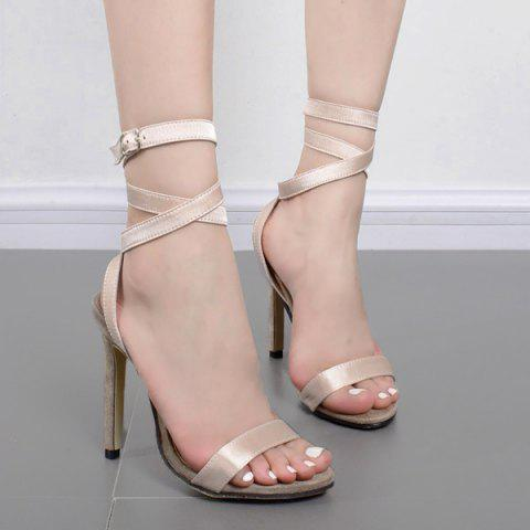 Affordable Strappy Stiletto Heel Sandals APRICOT 40