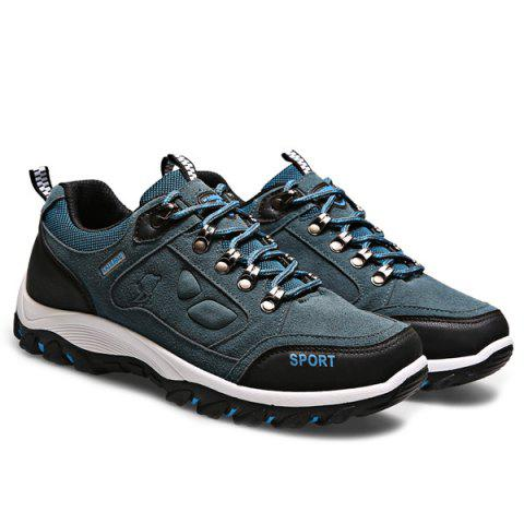 New Metal Embellishment Suede Athletic Shoes - 43 BLUE Mobile