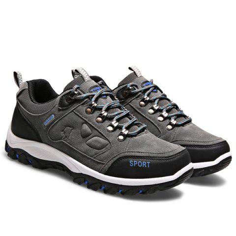 Metal Embellishment Suede Athletic Shoes - Gray - 40