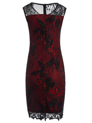 Outfit Lace Panel Sleeveless Pencil Sheath Dress - M RED Mobile