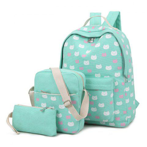 Buy Canvas Cat Print 3 Pieces Backpack Set GREEN
