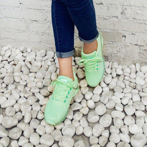 Fashion Mesh Breathable Athletic Shoes - 38 LIGHT GREEN Mobile