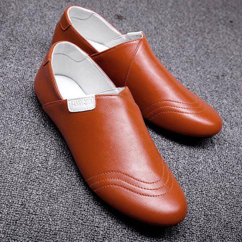 Outfit Colour Block Faux Leather Casual Shoes - 40 ORANGE Mobile