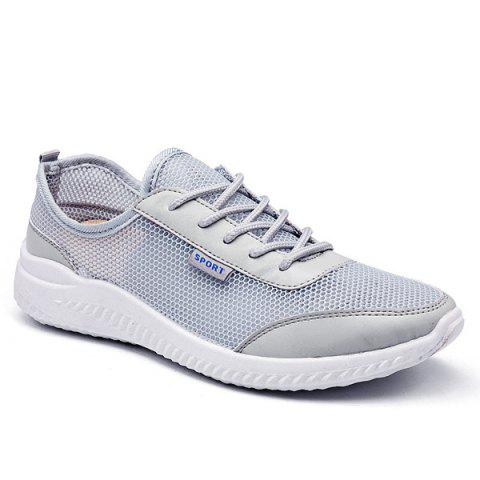 Fancy Lace Up Mesh Breathable Casual Shoes - 40 GRAY Mobile