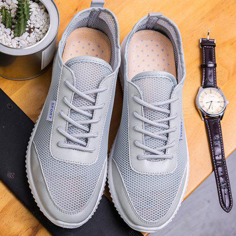 Trendy Lace Up Mesh Breathable Casual Shoes - 40 GRAY Mobile
