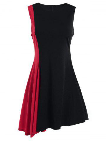 New Sleeveless A Line Two Tone Dress - XL RED Mobile