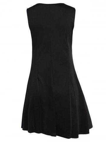 Discount Sleeveless A Line Two Tone Dress - M BLACK Mobile
