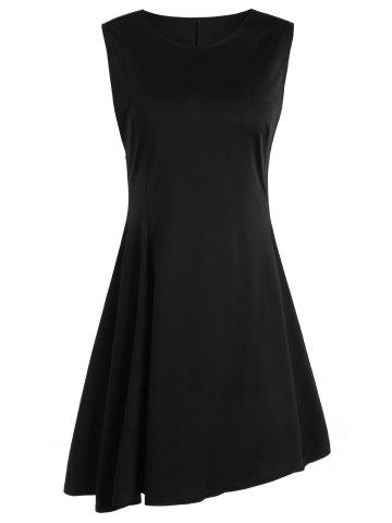 Discount Sleeveless A Line Two Tone Dress - L BLACK Mobile