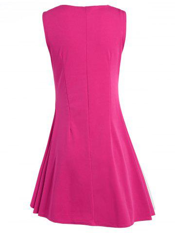 Outfit Sleeveless A Line Two Tone Dress - XL ROSE MADDER Mobile
