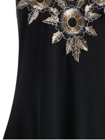 Affordable Cami Floral Embroidered Criss Cross Handkerchief Dress - S BLACK Mobile