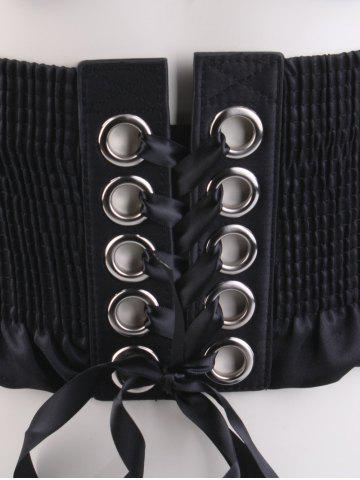 New Lace Up Pleated Metallic Rings Corset Belt - BLACK  Mobile