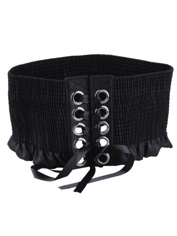 Shop Lace Up Pleated Metallic Rings Corset Belt - BLACK  Mobile