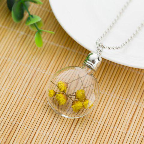 Dry Floral Heady Glass Ball Pendant Necklace - Yellow