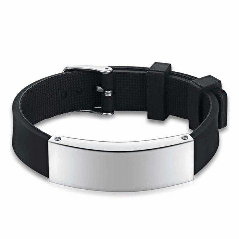 Stainless Steel Silicone Wristband Bracelet - Black