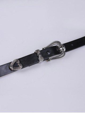 Store Engraving Double Pin Buckle Faux Leather Retro Belt - BLACK  Mobile