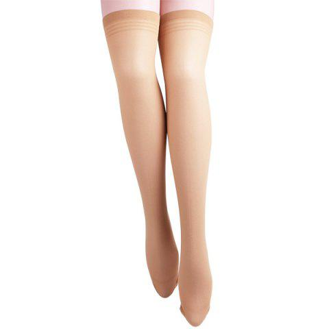 Skinny Stripe Brim Stockings - Yellowish Pink - 2xl