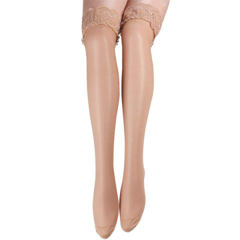 Skinny Lacework Brim Stockings - Yellowish Pink - 2xl