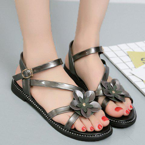 Fancy Floral Stitching Strap Flat Sandals CHAMPAGNE 39