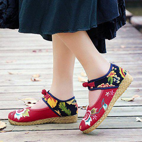 Cheap Embroidered Knot Button Flat Shoes - 37 RED Mobile