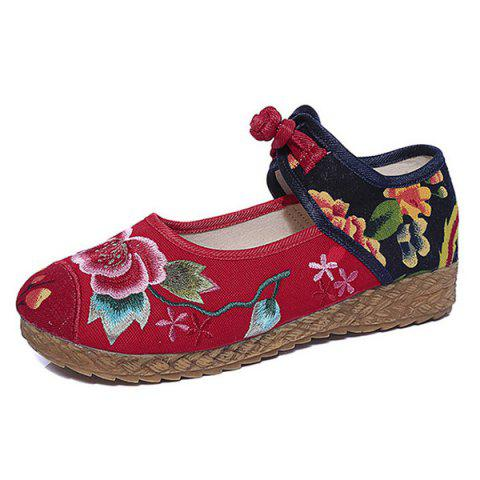 Fancy Embroidered Knot Button Flat Shoes - 37 RED Mobile