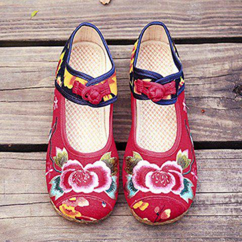Affordable Embroidered Knot Button Flat Shoes - 37 RED Mobile