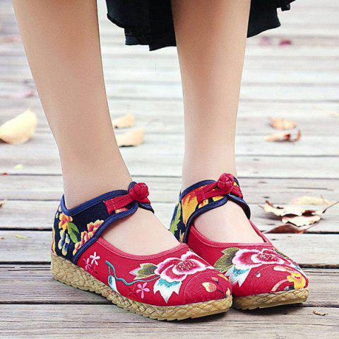Hot Embroidered Knot Button Flat Shoes - 37 RED Mobile