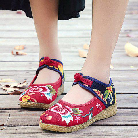 Fashion Embroidered Knot Button Flat Shoes - 37 RED Mobile