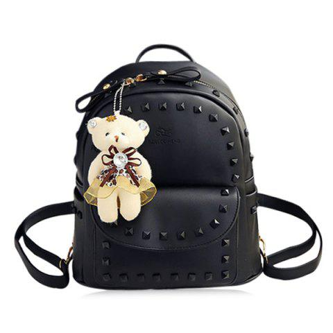 Trendy Faux Leather Rivet Backpack with Bear