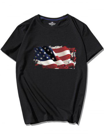 Outfit Crew Neck American Flag T-Shirt - XL BLACK Mobile