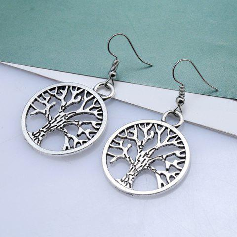 New Tree of Life Circle Hook Earrings - SILVER  Mobile