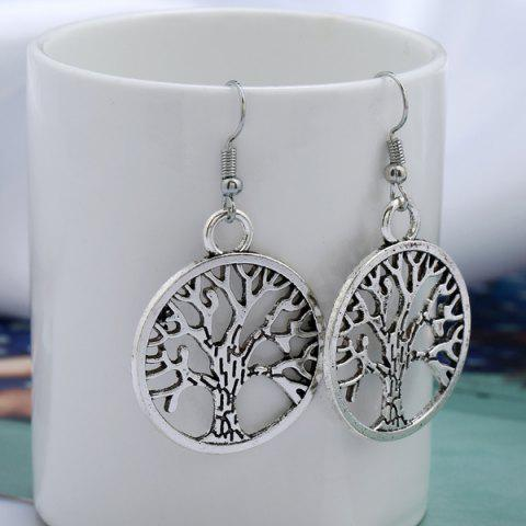Sale Tree of Life Circle Hook Earrings - SILVER  Mobile