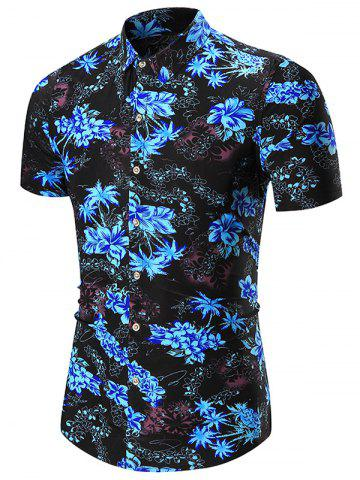 Cheap Floral Printed Short Sleeve Hawaiian Shirt BLUE 3XL