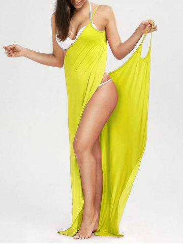 Trendy Beach Maxi Wrap Cover Up Long Slip Dress YELLOW XL