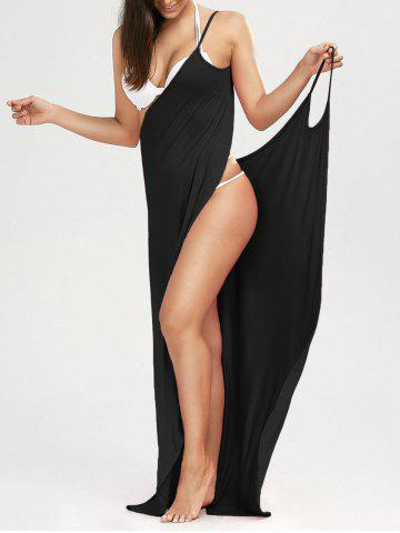 Beach Maxi Wrap Cover Up Long Slip Dress - Black - Xl