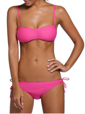 Affordable Scrunch Side Cross Back Three Piece Tankini Set - S ROSE MADDER Mobile