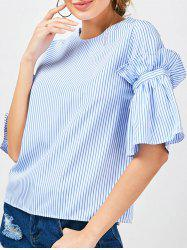 Bell Sleeve Ruffle Striped Blouse