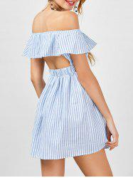 Off The Shoulder Cut Out Striped Dress - STRIPE