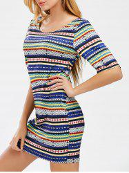 Geometric Print Striped Bodycon Mini Dress