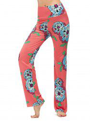 Flower Painting Print High Waisted Boho Pants