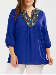 Plus Size Embroidered Rhinestone Embellished Blouse - BLUE